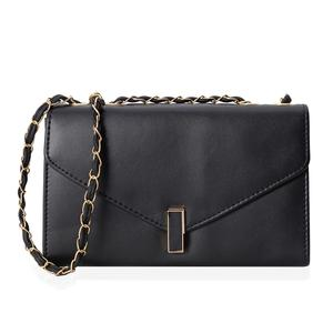 Black Crossbody Bag (10.1x3.3x6.1 in) with Turn-Lock Closure