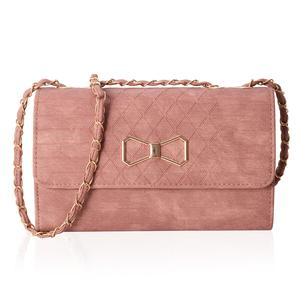 Blush Crossbody Bag (10.1x3.3x6.1 in) with Flap Magnetic Closure