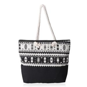 Black and White 100% Polyester Jacquard Tote Bag (19.2x14.6x15.4 in)