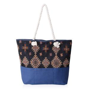 Blue and Black with Multi Color Diamond Pattern 100% Polyester Jacquard Tote Bag (19.2x14.6x15.4 in)