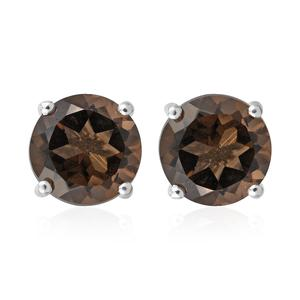 Brazilian Smoky Quartz Sterling Silver Stud Earrings TGW 5.30 cts.