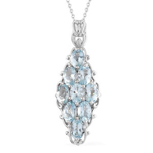 Espirito Santo Aquamarine Platinum Over Sterling Silver Pendant With Chain (20 in) TGW 3.60 cts.