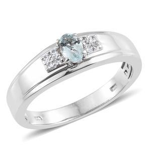 Espirito Santo Aquamarine, Cambodian Zircon Platinum Over Sterling Silver Men's Ring (Size 10.0) TGW 0.60 cts.
