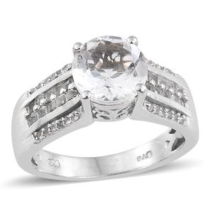 Petalite, White Topaz Platinum Over Sterling Silver Ring (Size 7.0) TGW 3.15 cts.
