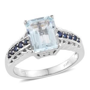 Espirito Santo Aquamarine, Kanchanaburi Blue Sapphire Platinum Over Sterling Silver Ring (Size 9.0) TGW 3.60 cts.