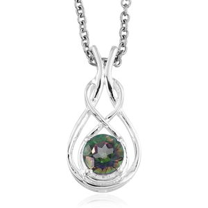 Northern Lights Mystic Topaz Sterling Silver Pendant With Stainless Steel Chain (20 in) TGW 1.00 cts.