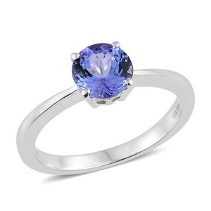 Tanzanite Platinum Over Sterling Silver Round Cut Solitaire Ring (Size 11.0) TGW 2.10 cts.