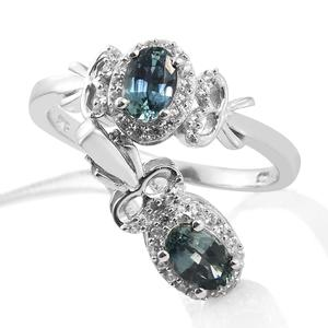Montana Sapphire, Cambodian Zircon Platinum Over Sterling Silver Ring (Size 8) and Pendant With Chain (20 in) TGW 1.55 cts.