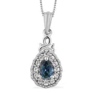 Montana Sapphire, Cambodian Zircon Platinum Over Sterling Silver Drop Pendant With Chain (20 in) TGW 0.78 cts.