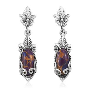 Mojave Purple Turquoise Sterling Silver Leaf Dangle Earrings TGW 4.28 cts.
