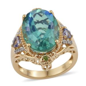 Peacock Quartz, Multi Gemstone Vermeil YG Over Sterling Silver Ring (Size 8.0) TGW 13.46 cts.