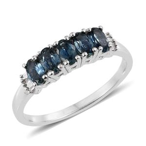 Montana Sapphire, Diamond Platinum Over Sterling Silver Ring (Size 5.0) TDiaWt 0.05 cts, TGW 1.50 cts.