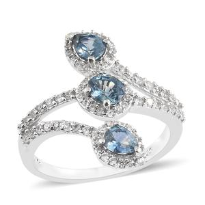 Montana Sapphire, Cambodian Zircon Platinum Over Sterling Silver Bypass Ring (Size 7.0) TGW 2.13 cts.