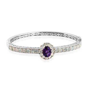Moroccan Amethyst, Ethiopian Welo Opal Platinum Over Sterling Silver Bangle (7.25 in) TGW 5.22 cts.