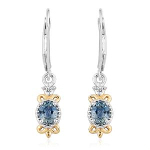 Montana Sapphire, Cambodian Zircon 14K YG and Platinum Over Sterling Silver Lever Back Earrings TGW 1.01 cts.