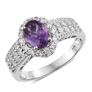 Moroccan Amethyst, Cambodian Zircon Platinum Over Sterling Silver Ring (Size 8.0) TGW 3.25 cts.