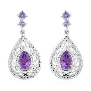 Moroccan Amethyst, Tanzanite Platinum Over Sterling Silver Earrings TGW 1.75 cts.