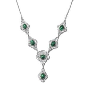 KARIS Collection - African Malachite Platinum Bond Brass Necklace (18 in) TGW 17.00 cts.