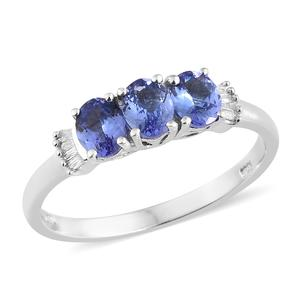 Premium AAA Tanzanite, Diamond Platinum Over Sterling Silver Ring (Size 5.0) TDiaWt 0.06 cts, TGW 1.11 cts.