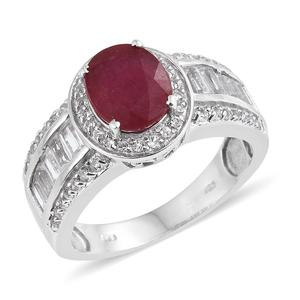 Deepak's Dazzling Deals Niassa Ruby, White Topaz Platinum Over Sterling Silver Ring (Size 7.0) TGW 5.94 cts.