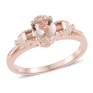 Marropino Morganite, Cambodian Zircon Vermeil RG Over Sterling Silver Royal Ring (Size 5.0) TGW 1.23 cts.