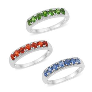 Set of 3 Crimson Fire Opal, Himalayan Kyanite, Russian Diopside Platinum Over Sterling Silver 7 Stone Band Rings (Size 9) TGW 2.17 cts.