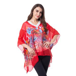 Red 100% Polyester Floral and Paisley Pattern Sheer Poncho with Crochet Sequin V-Neck (One Size)