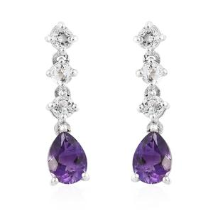 Moroccan Amethyst, White Topaz Platinum Over Sterling Silver Dangle Earrings TGW 2.16 cts.
