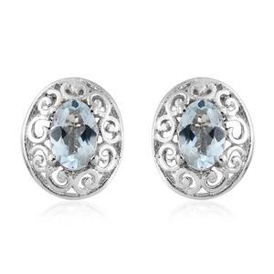 Espirito Santo Aquamarine Platinum Over Sterling Silver Stud Earrings TGW 0.67 cts.