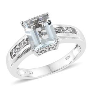Espirito Santo Aquamarine, White Topaz Platinum Over Sterling Silver Ring (Size 9.0) TGW 3.55 cts.