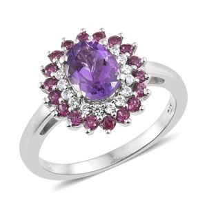 Rose De Maroc Amethyst Halo Ring in Platinum Over Sterling Silver 2.94 cttw (Size 10.0)