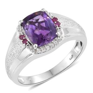 Moroccan Amethyst, Multi Gemstone Platinum Over Sterling Silver Men's Signet Ring (Size 11.0) TGW 4.54 cts.
