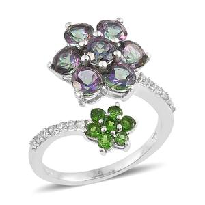 Northern Lights Mystic Topaz, Multi Gemstone Platinum Over Sterling Silver Floral Bypass Ring (Size 7.0) TGW 4.98 cts.