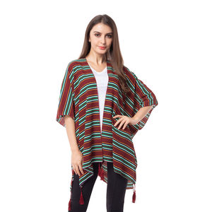 Wine Red Stripe Pattern 100% Polyester Kimono with Tassles (38.59x29.76 in)
