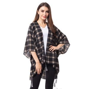 Black Chequer Pattern 100% Polyester Kimono with Tassles (38.59x29.76 in)