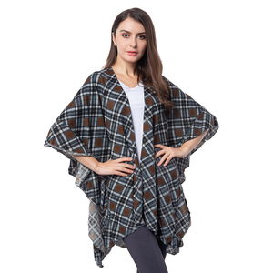 Brown Chequer Pattern 100% Polyester Kimono (32.68x32.68 in)