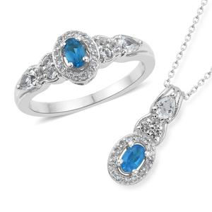 Malgache Neon Apatite, White Topaz Platinum Over Sterling Silver Ring (Size 9) and Pendant With Chain (20 in) TGW 1.64 cts.