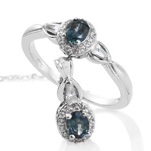 Montana Sapphire, Cambodian Zircon Platinum Over Sterling Silver Ring (Size 10) and Pendant With Chain (20 in) TGW 1.48 cts.