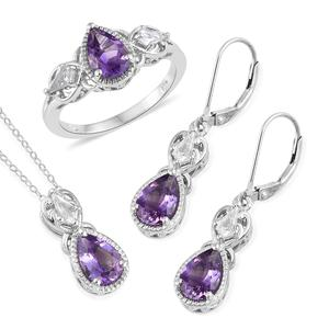 Moroccan Amethyst, White Topaz Platinum Over Sterling Silver Lever Back Earrings, Ring (Size 8) and Pendant With Chain (20 in) TGW 6.05 cts.