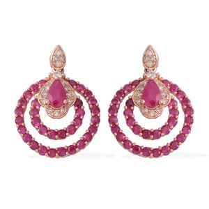 14K RG Ruby, Diamond Earrings TDiaWt 0.21 cts, TGW 2.01 cts.
