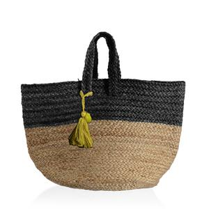 Black 100% Jute Hand Braided Handbag with Removable Pom Pom Tassel (18x10x14 in)