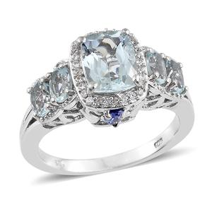 Espirito Santo Aquamarine, Multi Gemstone Platinum Over Sterling Silver Ring (Size 7.0) TGW 3.72 cts.