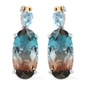 Aqua Terra Costa Quartz, Swiss Blue Topaz Platinum Over Sterling Silver Earrings TGW 20.70 cts.