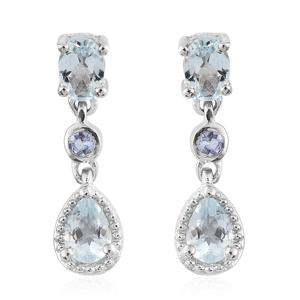 Espirito Santo Aquamarine, Tanzanite Platinum Over Sterling Silver Earrings TGW 1.66 cts.