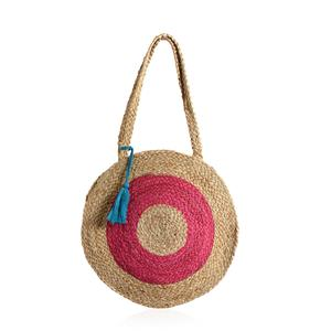 Fuschia and Neutral 100% Jute Round Bag with Pom Pom Tassels (15 in)
