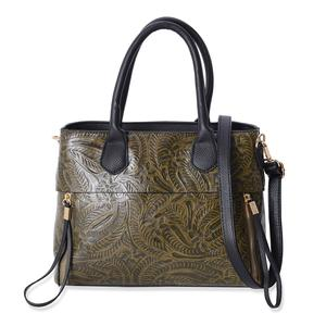 Olive Floral Embossed Faux Leather Structure Bag with Removable Strap and Standing Studs (12x4x9.5 in)