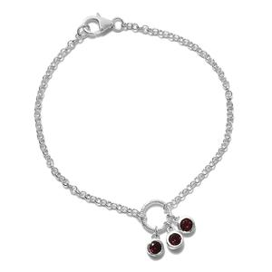 Multi Color Gemstone Sterling Silver Bracelet (7.25 In) TGW 1.65 cts.