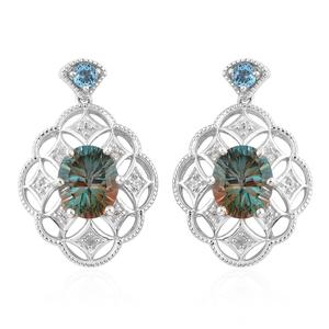 Aqua Terra Costa Quartz, Multi Gemstone Platinum Over Sterling Silver Earrings TGW 12.05 cts.