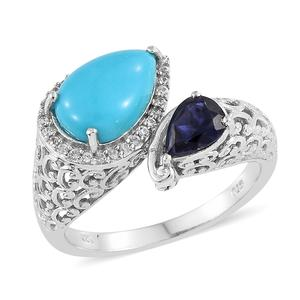 Arizona Sleeping Beauty Turquoise, Multi Gemstone Platinum Over Sterling Silver Ring (Size 7.0) TGW 3.55 cts.