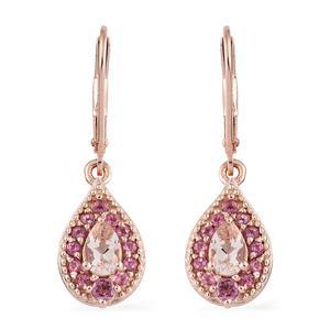 Marropino Morganite, Morro Redondo Pink Tourmaline Vermeil RG Over Sterling Silver Lever Back Earrings TGW 1.26 cts.